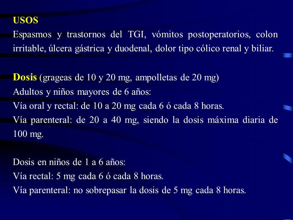 USOS Espasmos y trastornos del TGI, vómitos postoperatorios, colon irritable, úlcera gástrica y duodenal, dolor tipo cólico renal y biliar. Dosis (gra
