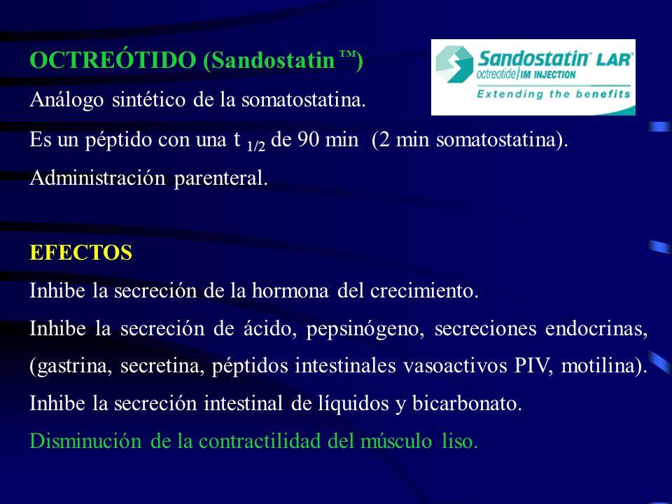 OCTREÓTIDO (Sandostatin ) Análogo sintético de la somatostatina. Es un péptido con una t 1/2 de 90 min (2 min somatostatina). Administración parentera