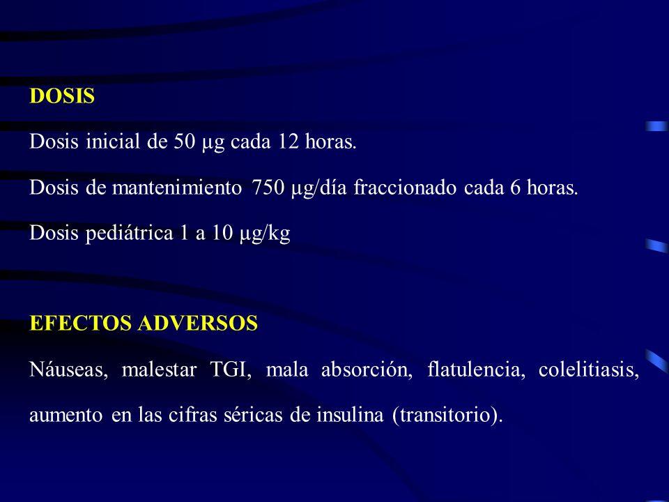 DOSIS Dosis inicial de 50 µg cada 12 horas. Dosis de mantenimiento 750 µg/día fraccionado cada 6 horas. Dosis pediátrica 1 a 10 µg/kg EFECTOS ADVERSOS
