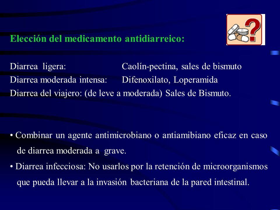 Elección del medicamento antidiarreico: Diarrea ligera: Caolín-pectina, sales de bismuto Diarrea moderada intensa:Difenoxilato, Loperamida Diarrea del