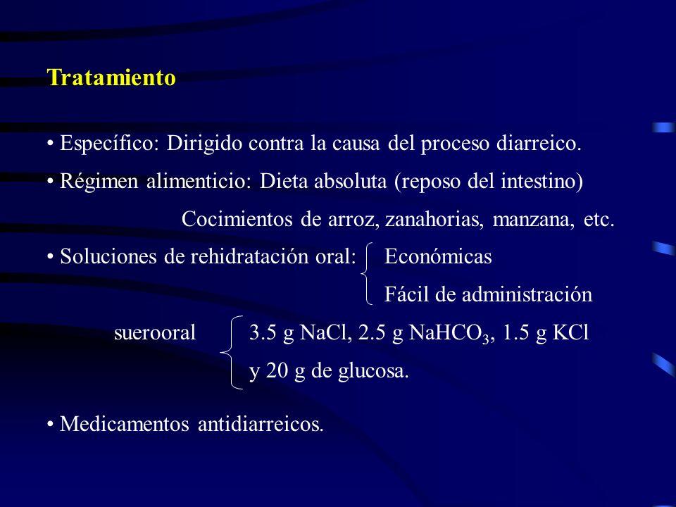 Tratamiento Específico: Dirigido contra la causa del proceso diarreico. Régimen alimenticio: Dieta absoluta (reposo del intestino) Cocimientos de arro