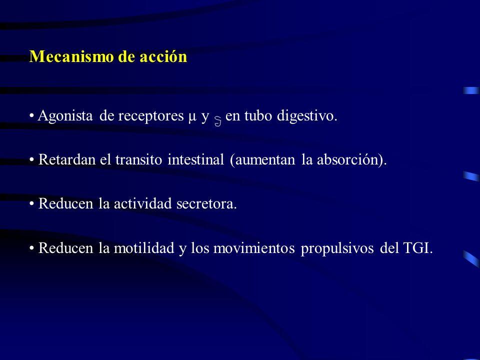 Mecanismo de acción Agonista de receptores µ y en tubo digestivo. Retardan el transito intestinal (aumentan la absorción). Reducen la actividad secret