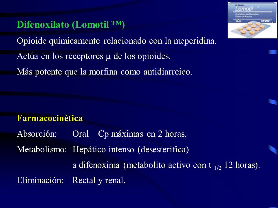 Presentaciones: (comprimidos) 2.5 mg clorhidrato de difenoxilato + 25µg de sulfato de atropina Atropina: Propiedades anticolinérgicas: Reducen la motilidad Reducen la secreción intestinal * Principal objetivo de la adición de atropina: Desalentar el abuso de los preparados opioides.