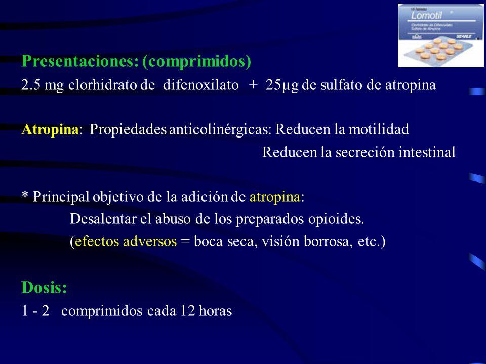 Presentaciones: (comprimidos) 2.5 mg clorhidrato de difenoxilato + 25µg de sulfato de atropina Atropina: Propiedades anticolinérgicas: Reducen la moti