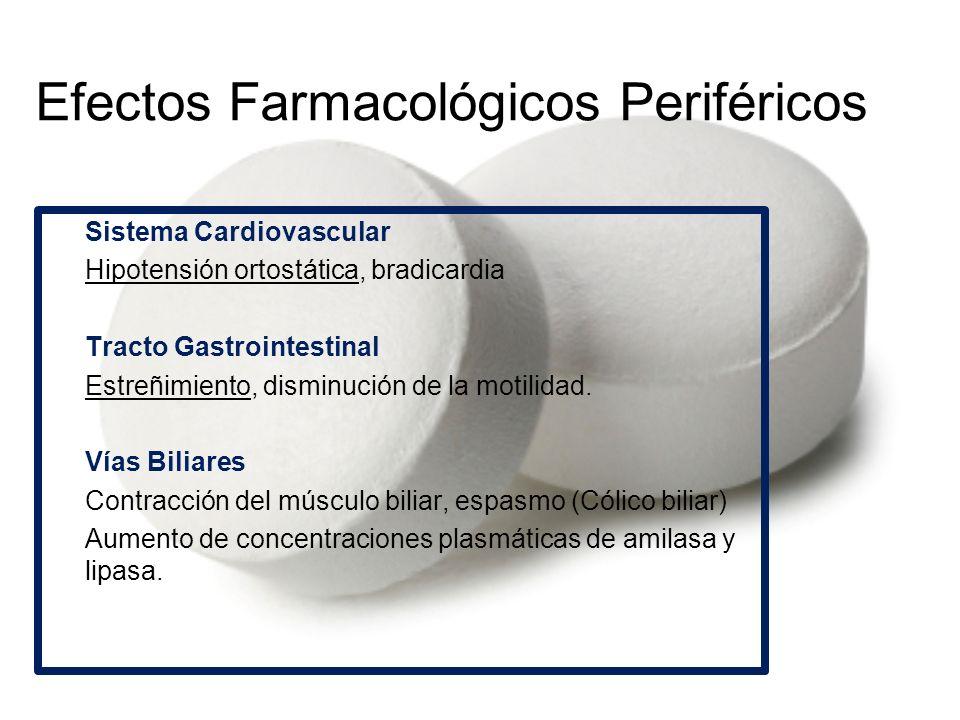 Efectos Farmacológicos Periféricos Sistema Cardiovascular -Hipotensión ortostática, bradicardia Tracto Gastrointestinal -Estreñimiento, disminución de
