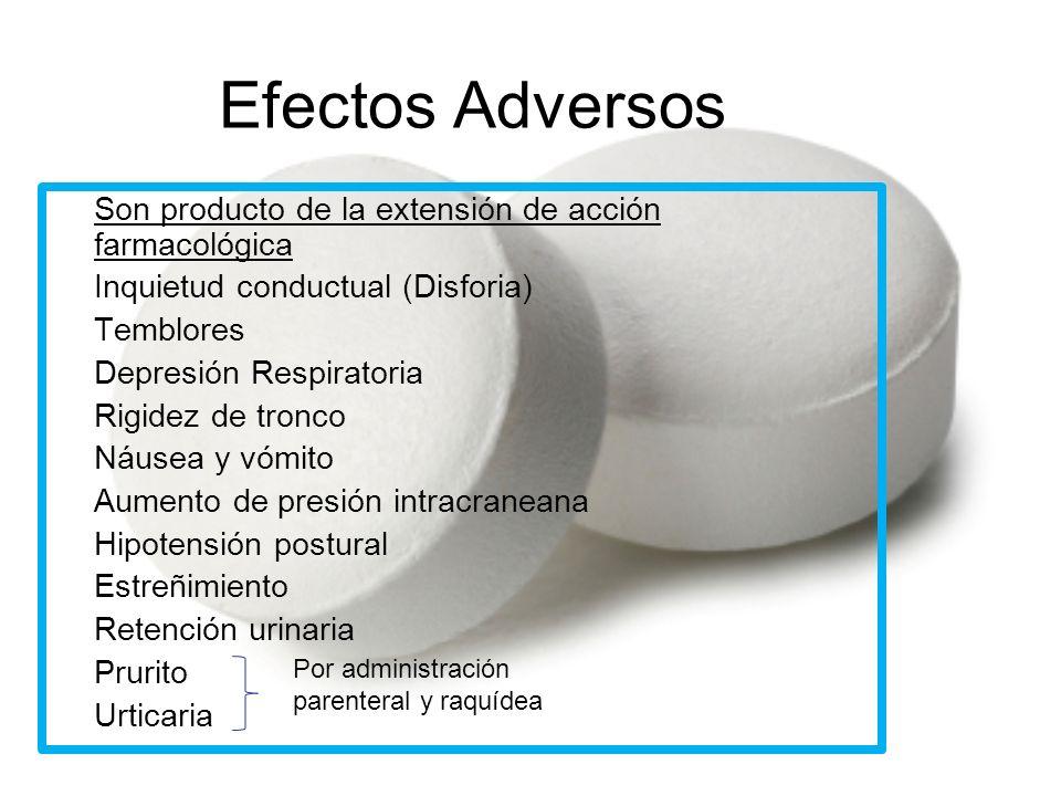 Efectos Adversos Son producto de la extensión de acción farmacológica -Inquietud conductual (Disforia) -Temblores -Depresión Respiratoria -Rigidez de