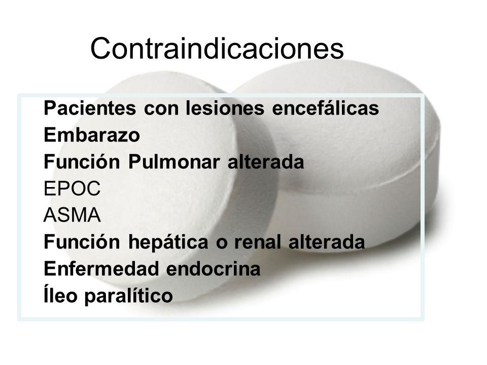 Contraindicaciones Pacientes con lesiones encefálicas Embarazo Función Pulmonar alterada -EPOC -ASMA Función hepática o renal alterada Enfermedad endo