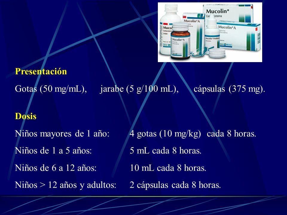 Presentación Gotas (50 mg/mL), jarabe (5 g/100 mL), cápsulas (375 mg). Dosis Niños mayores de 1 año: 4 gotas (10 mg/kg) cada 8 horas. Niños de 1 a 5 a