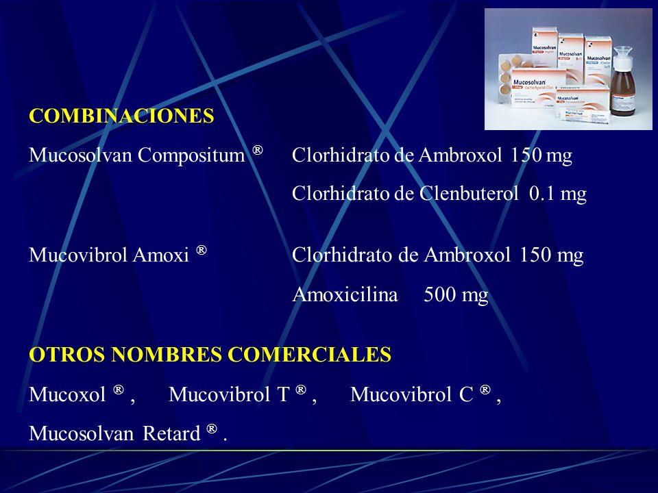 COMBINACIONES Mucosolvan Compositum ® Clorhidrato de Ambroxol 150 mg Clorhidrato de Clenbuterol 0.1 mg Mucovibrol Amoxi ® Clorhidrato de Ambroxol 150