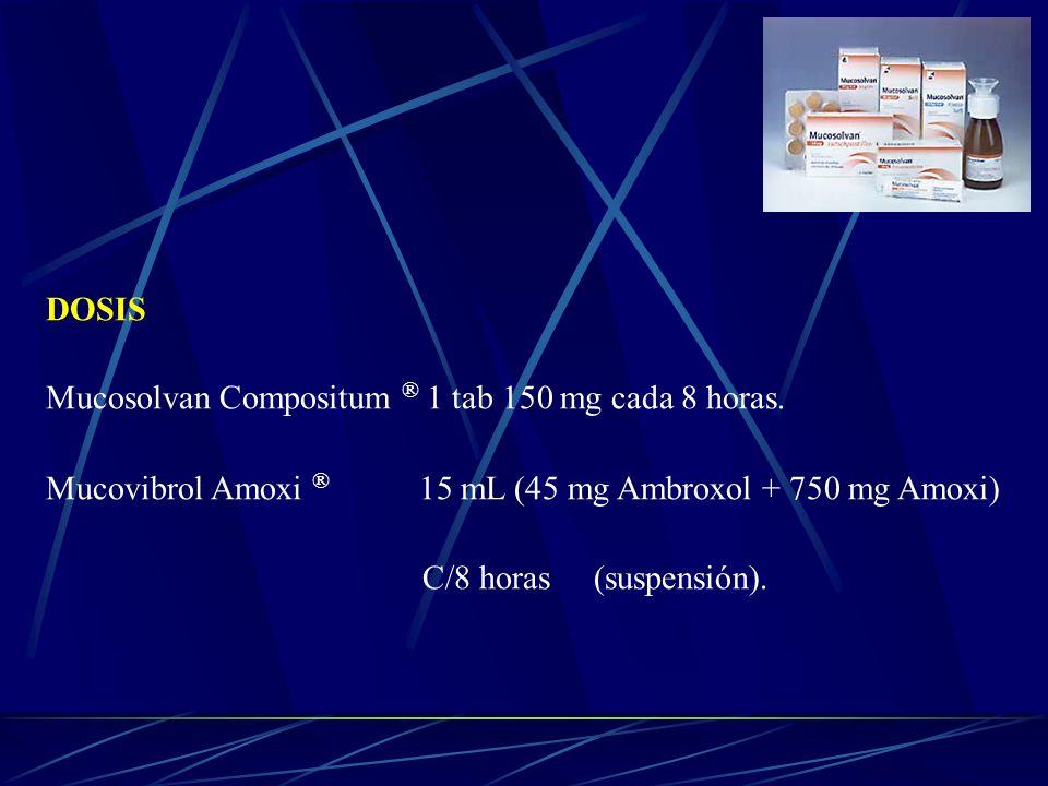 DOSIS Mucosolvan Compositum ® 1 tab 150 mg cada 8 horas. Mucovibrol Amoxi ® 15 mL (45 mg Ambroxol + 750 mg Amoxi) C/8 horas (suspensión).