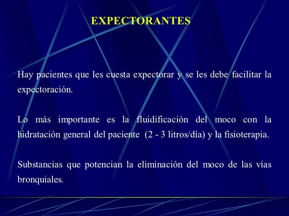 EXPECTORANTES Hay pacientes que les cuesta expectorar y se les debe facilitar la expectoración. Lo más importante es la fluidificación del moco con la
