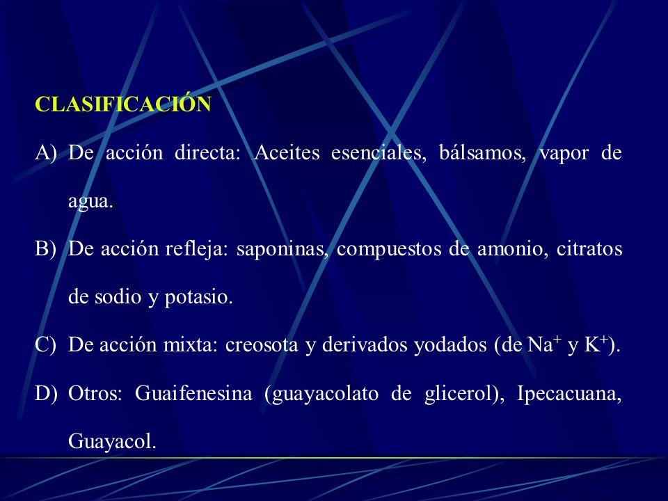 CLASIFICACIÓN A)De acción directa: Aceites esenciales, bálsamos, vapor de agua. B)De acción refleja: saponinas, compuestos de amonio, citratos de sodi