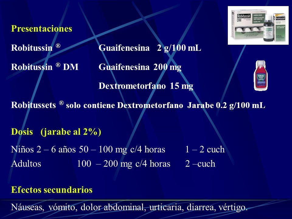 Presentaciones Robitussin ® Guaifenesina 2 g/100 mL Robitussin ® DM Guaifenesina 200 mg Dextrometorfano 15 mg Robitussets ® solo contiene Dextrometorf