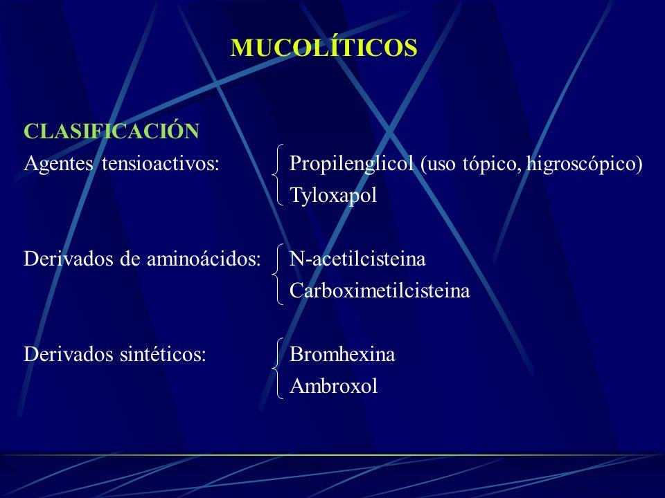 MUCOLÍTICOS CLASIFICACIÓN Agentes tensioactivos: Propilenglicol (uso tópico, higroscópico) Tyloxapol Derivados de aminoácidos:N-acetilcisteina Carboxi