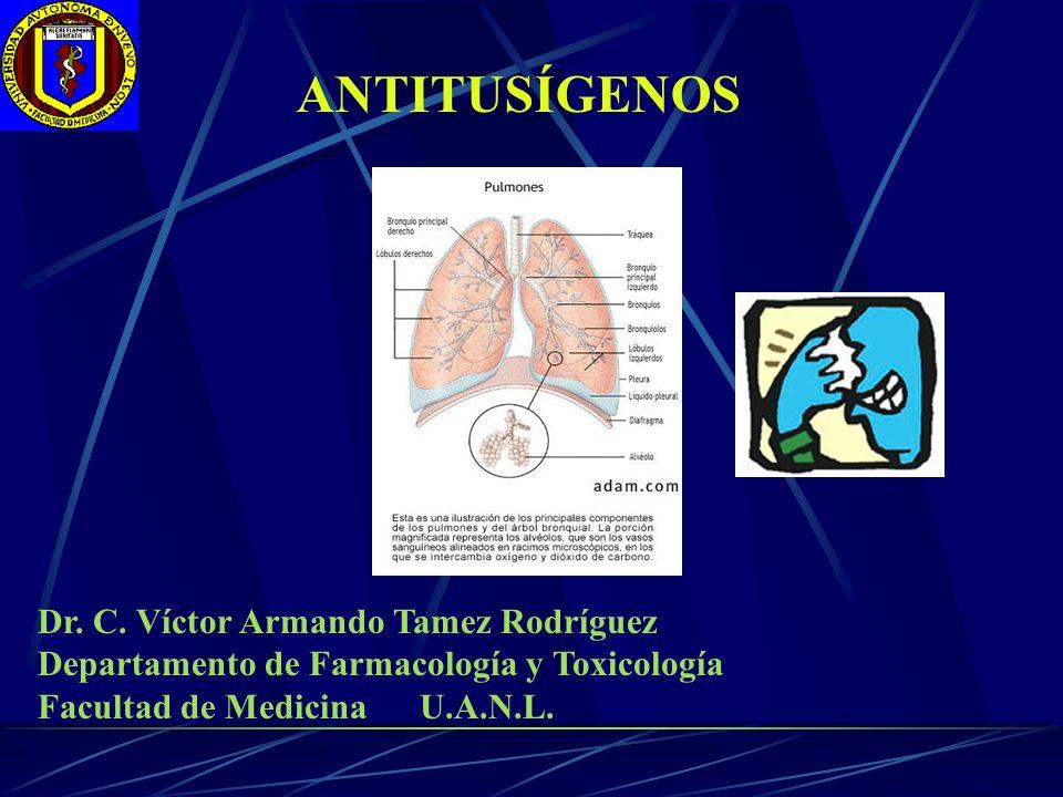 ANTITUSÍGENOS Dr. C. Víctor Armando Tamez Rodríguez Departamento de Farmacología y Toxicología Facultad de Medicina U.A.N.L.