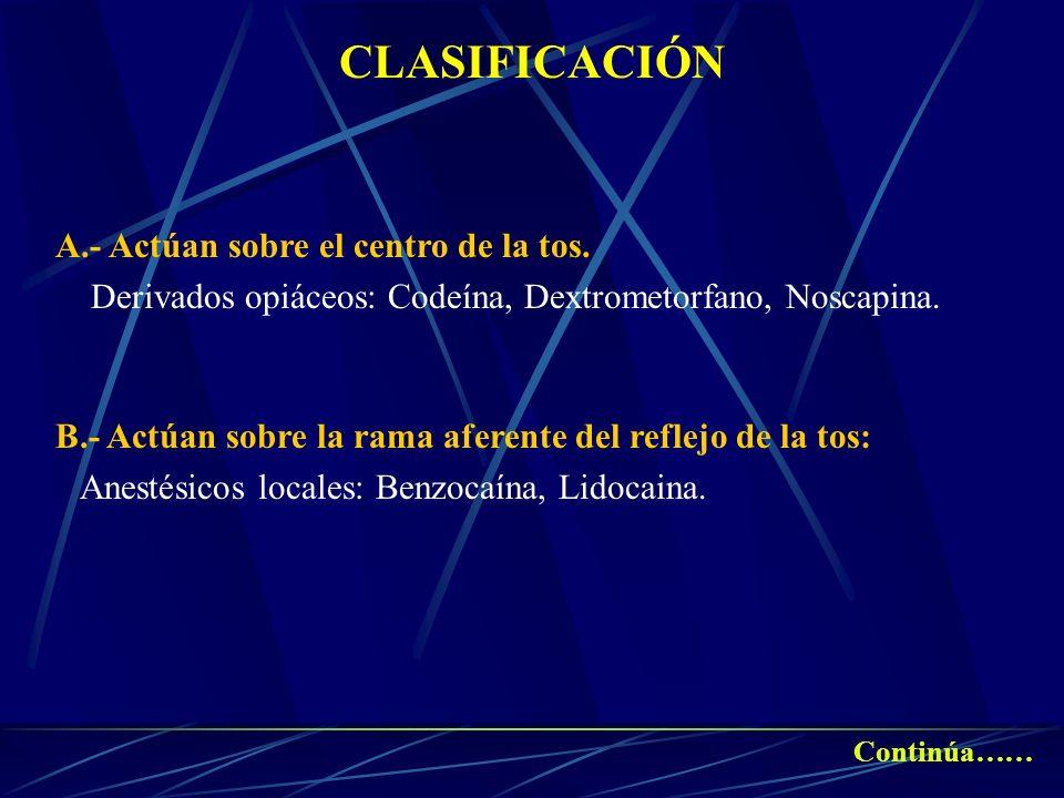 CLASIFICACIÓN A.- Actúan sobre el centro de la tos. Derivados opiáceos: Codeína, Dextrometorfano, Noscapina. B.- Actúan sobre la rama aferente del ref