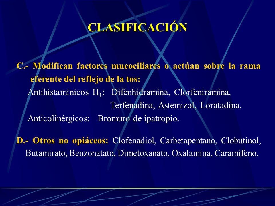 CLASIFICACIÓN C.- Modifican factores mucociliares o actúan sobre la rama eferente del reflejo de la tos: Antihistamínicos H 1 : Difenhidramina, Clorfe