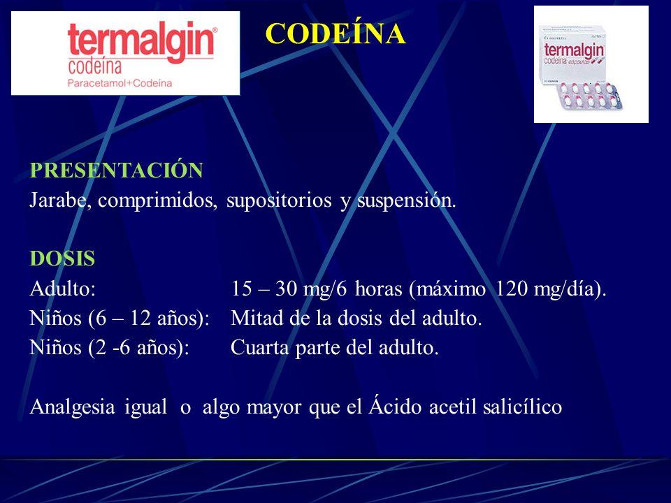 CODEÍNA PRESENTACIÓN Jarabe, comprimidos, supositorios y suspensión. DOSIS Adulto:15 – 30 mg/6 horas (máximo 120 mg/día). Niños (6 – 12 años): Mitad d