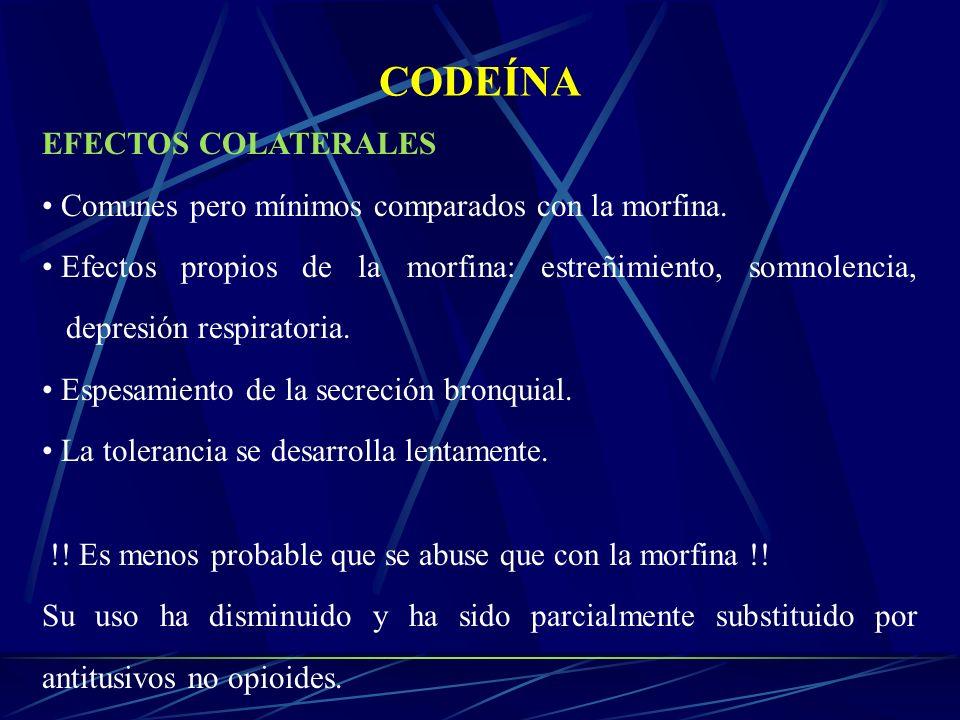CODEÍNA EFECTOS COLATERALES Comunes pero mínimos comparados con la morfina. Efectos propios de la morfina: estreñimiento, somnolencia, depresión respi