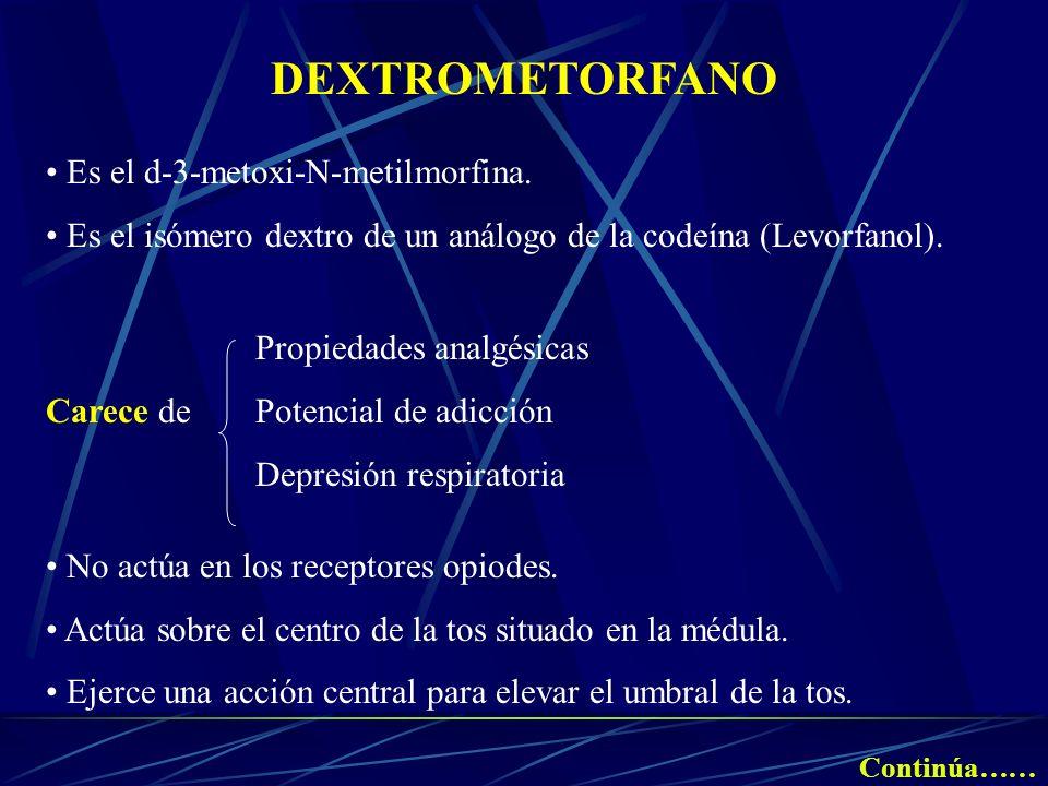 DEXTROMETORFANO Es el d-3-metoxi-N-metilmorfina. Es el isómero dextro de un análogo de la codeína (Levorfanol). Propiedades analgésicas Carece de Pote