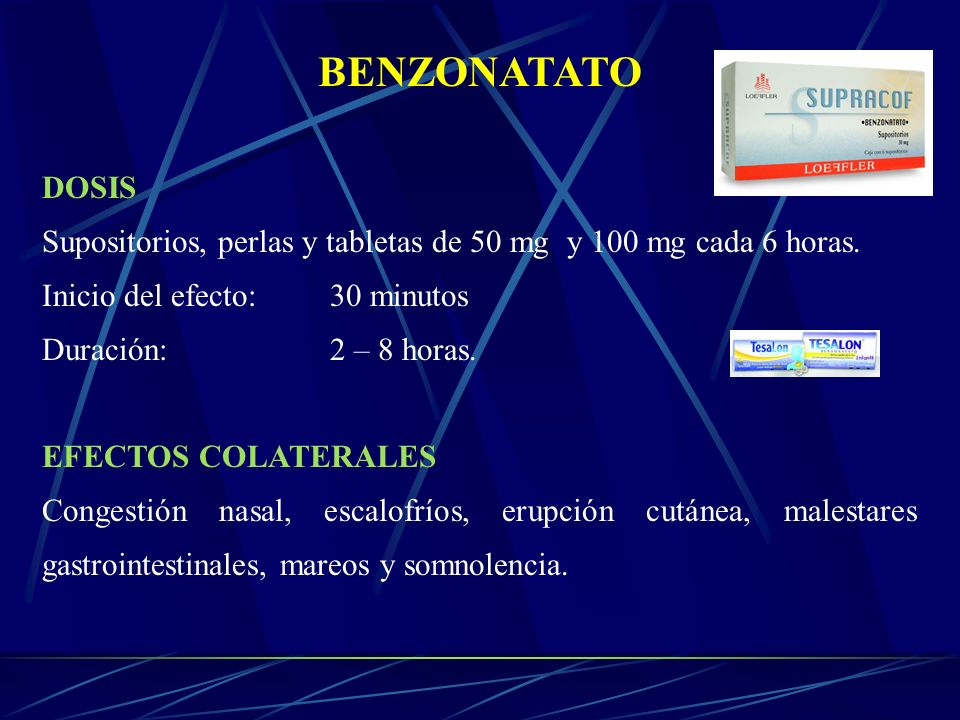 BENZONATATO DOSIS Supositorios, perlas y tabletas de 50 mg y 100 mg cada 6 horas. Inicio del efecto: 30 minutos Duración: 2 – 8 horas. EFECTOS COLATER