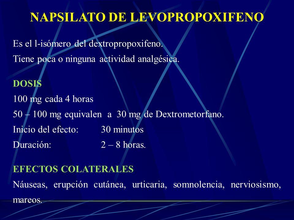 NAPSILATO DE LEVOPROPOXIFENO Es el l-isómero del dextropropoxifeno. Tiene poca o ninguna actividad analgésica. DOSIS 100 mg cada 4 horas 50 – 100 mg e