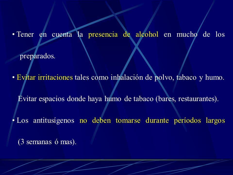 Tener en cuenta la presencia de alcohol en mucho de los preparados. Evitar irritaciones tales como inhalación de polvo, tabaco y humo. Evitar espacios