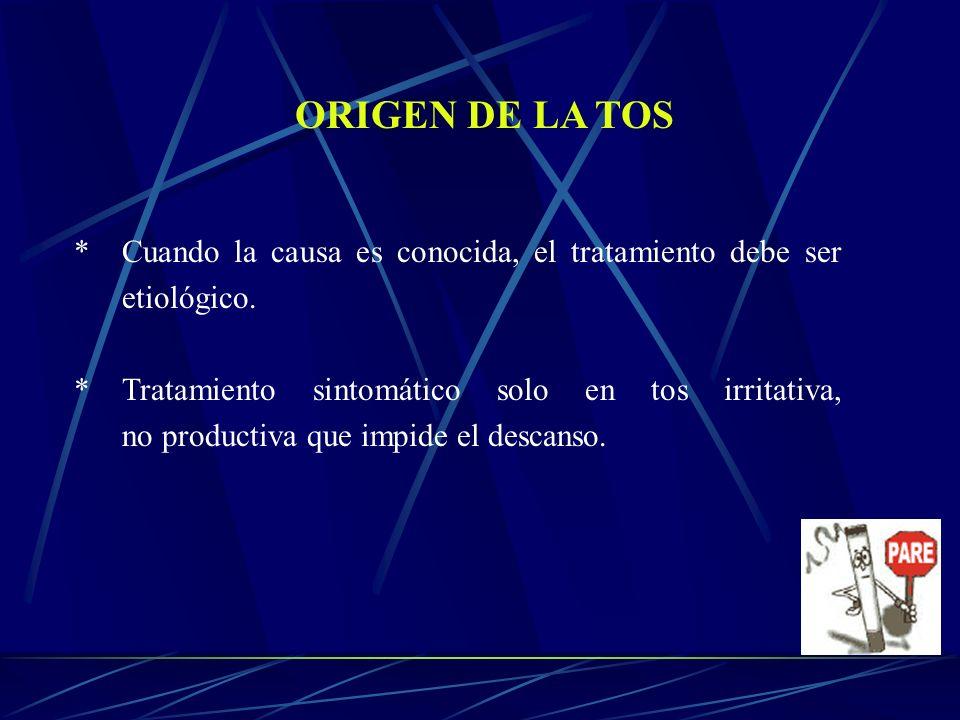 ORIGEN DE LA TOS * Cuando la causa es conocida, el tratamiento debe ser etiológico. *Tratamiento sintomático solo en tos irritativa, no productiva que