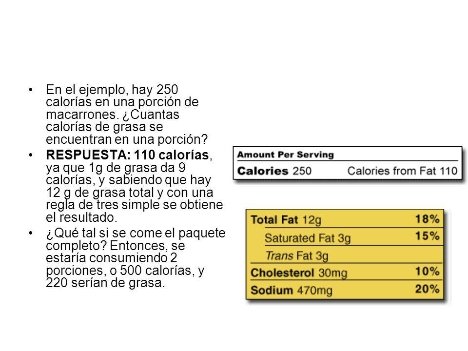 En el ejemplo, hay 250 calorías en una porción de macarrones. ¿Cuantas calorías de grasa se encuentran en una porción? RESPUESTA: 110 calorías, ya que