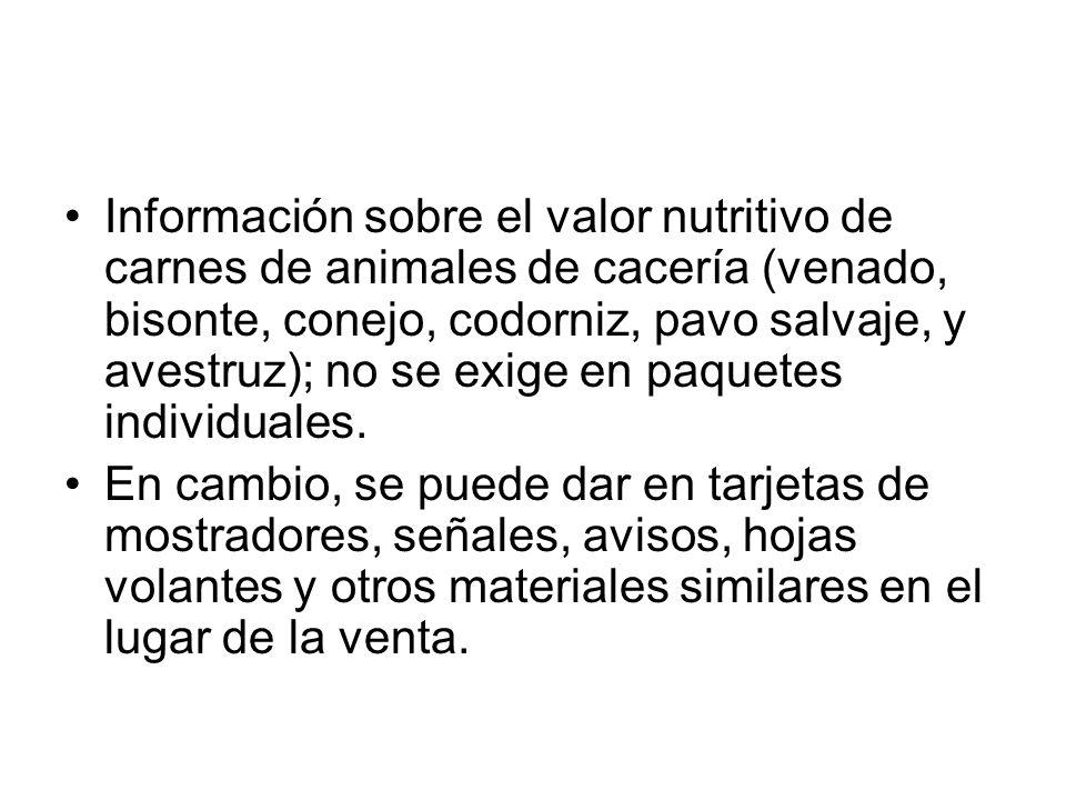 Información sobre el valor nutritivo de carnes de animales de cacería (venado, bisonte, conejo, codorniz, pavo salvaje, y avestruz); no se exige en pa
