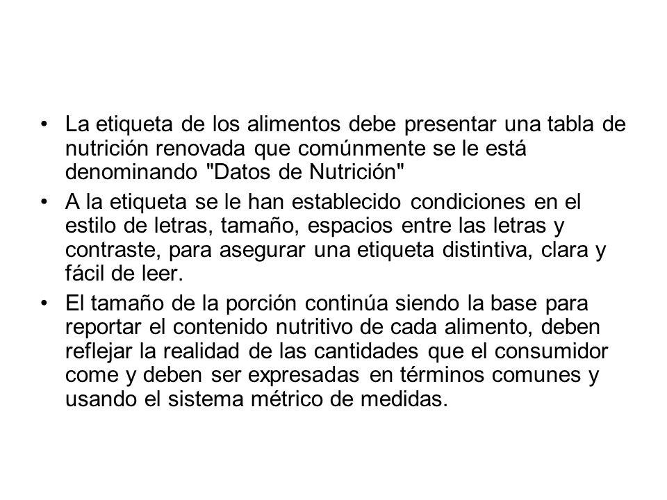 La etiqueta de los alimentos debe presentar una tabla de nutrición renovada que comúnmente se le está denominando