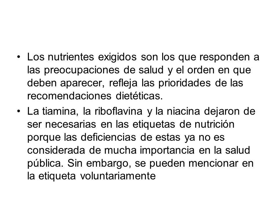 Los nutrientes exigidos son los que responden a las preocupaciones de salud y el orden en que deben aparecer, refleja las prioridades de las recomenda