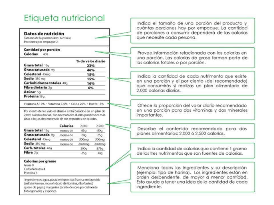 El primer lugar se debe iniciar analizando la porción (Tamaño) y el número de porciones que se encuentran en el paquete.