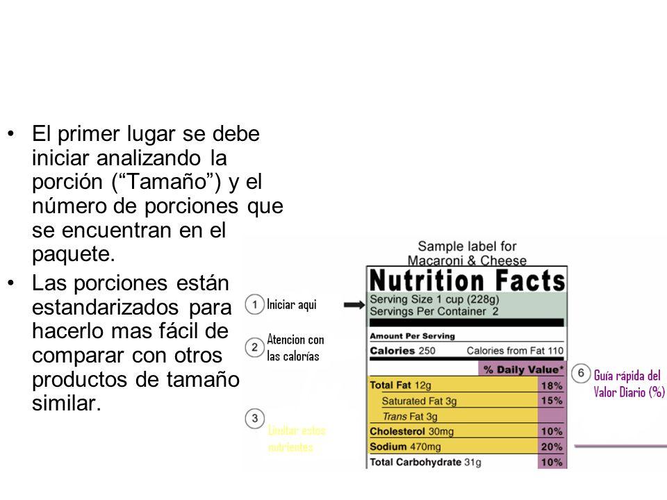 El primer lugar se debe iniciar analizando la porción (Tamaño) y el número de porciones que se encuentran en el paquete. Las porciones están estandari