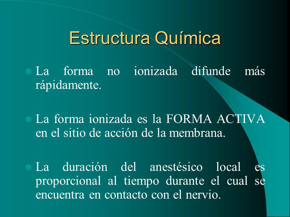 Estructura Química La forma no ionizada difunde más rápidamente. La forma ionizada es la FORMA ACTIVA en el sitio de acción de la membrana. La duració