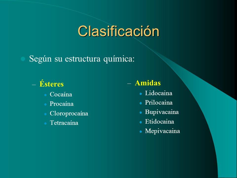 Clasificación Según su estructura química: – Ésteres Cocaína Procaína Cloroprocaína Tetracaína – Amidas Lidocaina Prilocaina Bupivacaina Etidocaina Me