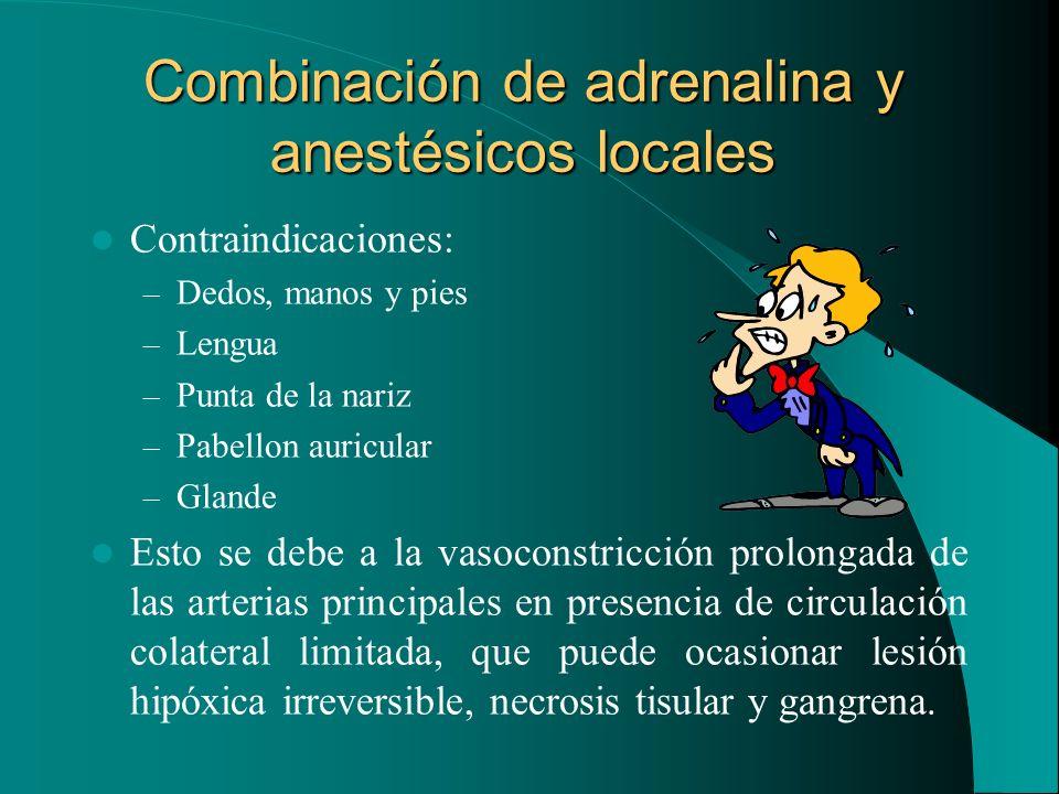 Combinación de adrenalina y anestésicos locales Contraindicaciones: – Dedos, manos y pies – Lengua – Punta de la nariz – Pabellon auricular – Glande E
