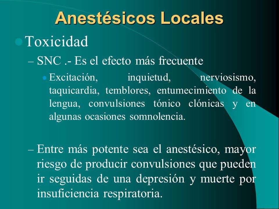Anestésicos Locales Toxicidad – SNC.- Es el efecto más frecuente Excitación, inquietud, nerviosismo, taquicardia, temblores, entumecimiento de la leng
