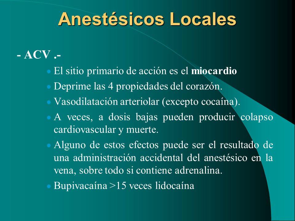 Anestésicos Locales - ACV.- El sitio primario de acción es el miocardio Deprime las 4 propiedades del corazón. Vasodilatación arteriolar (excepto coca