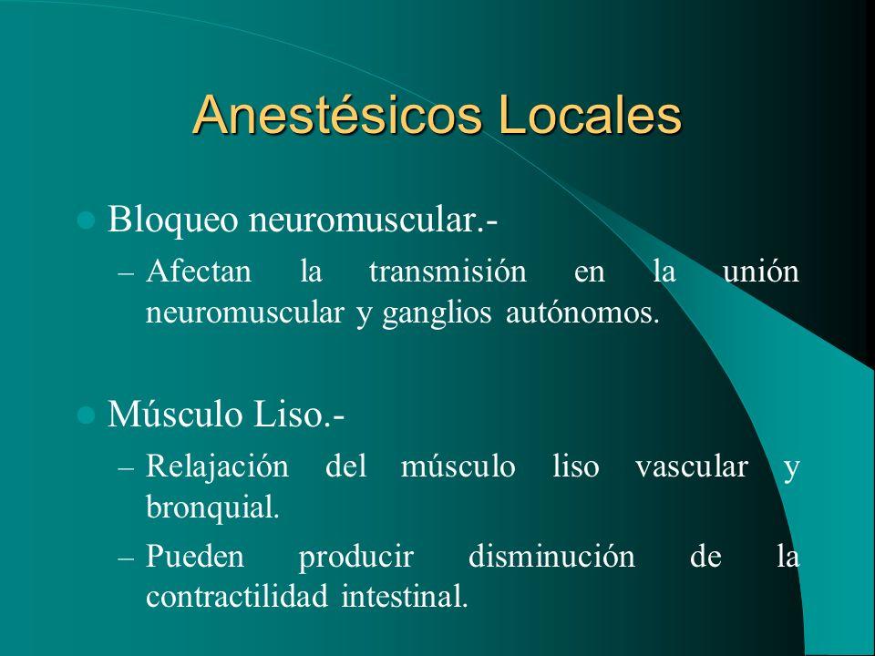 Anestésicos Locales Bloqueo neuromuscular.- – Afectan la transmisión en la unión neuromuscular y ganglios autónomos. Músculo Liso.- – Relajación del m