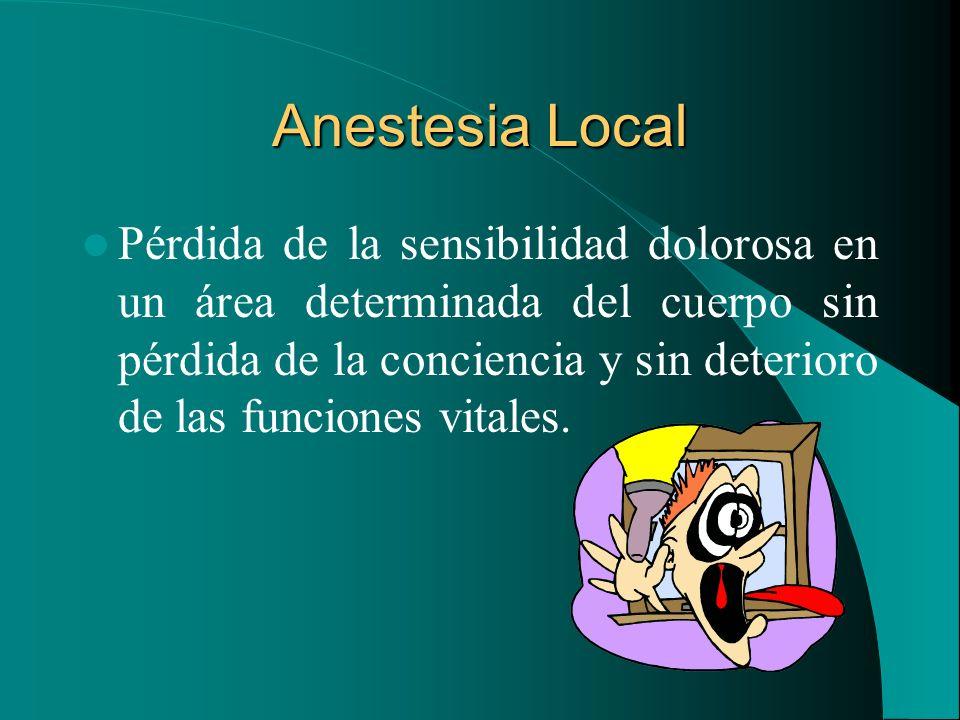Anestesia Local Pérdida de la sensibilidad dolorosa en un área determinada del cuerpo sin pérdida de la conciencia y sin deterioro de las funciones vi