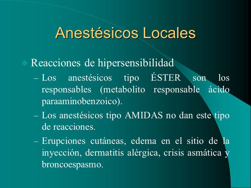 Anestésicos Locales Reacciones de hipersensibilidad – Los anestésicos tipo ÉSTER son los responsables (metabolito responsable ácido paraaminobenzoico)