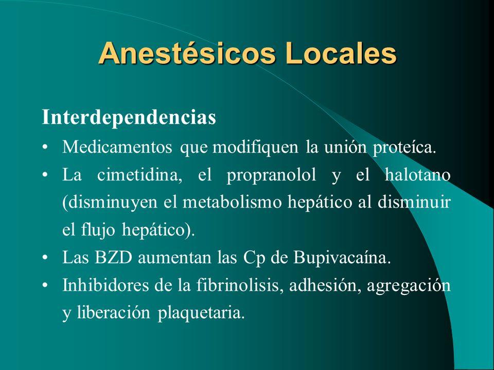 Anestésicos Locales Interdependencias Medicamentos que modifiquen la unión proteíca. La cimetidina, el propranolol y el halotano (disminuyen el metabo
