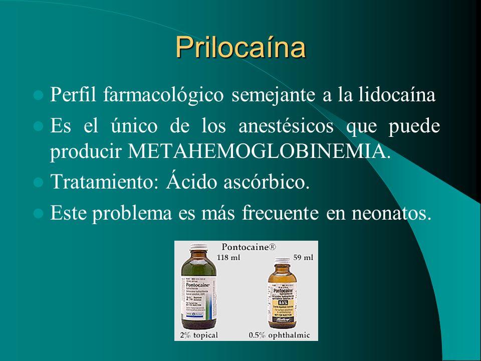 Prilocaína Perfil farmacológico semejante a la lidocaína Es el único de los anestésicos que puede producir METAHEMOGLOBINEMIA. Tratamiento: Ácido ascó