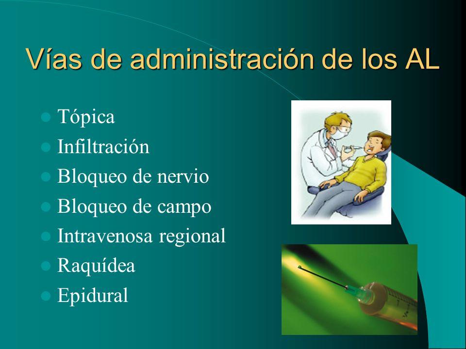 Vías de administración de los AL Tópica Infiltración Bloqueo de nervio Bloqueo de campo Intravenosa regional Raquídea Epidural