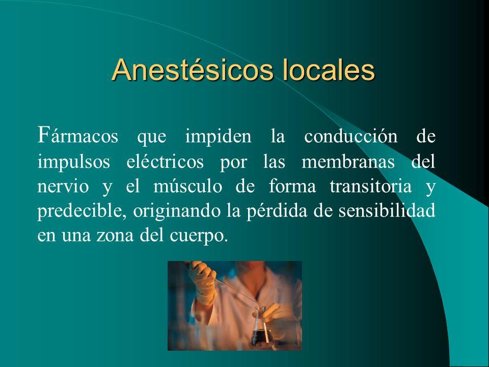 Anestésicos locales F ármacos que impiden la conducción de impulsos eléctricos por las membranas del nervio y el músculo de forma transitoria y predec