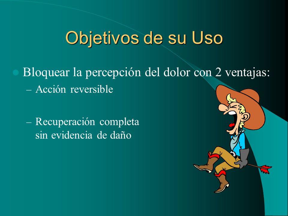 Objetivos de su Uso Bloquear la percepción del dolor con 2 ventajas: – Acción reversible – Recuperación completa sin evidencia de daño