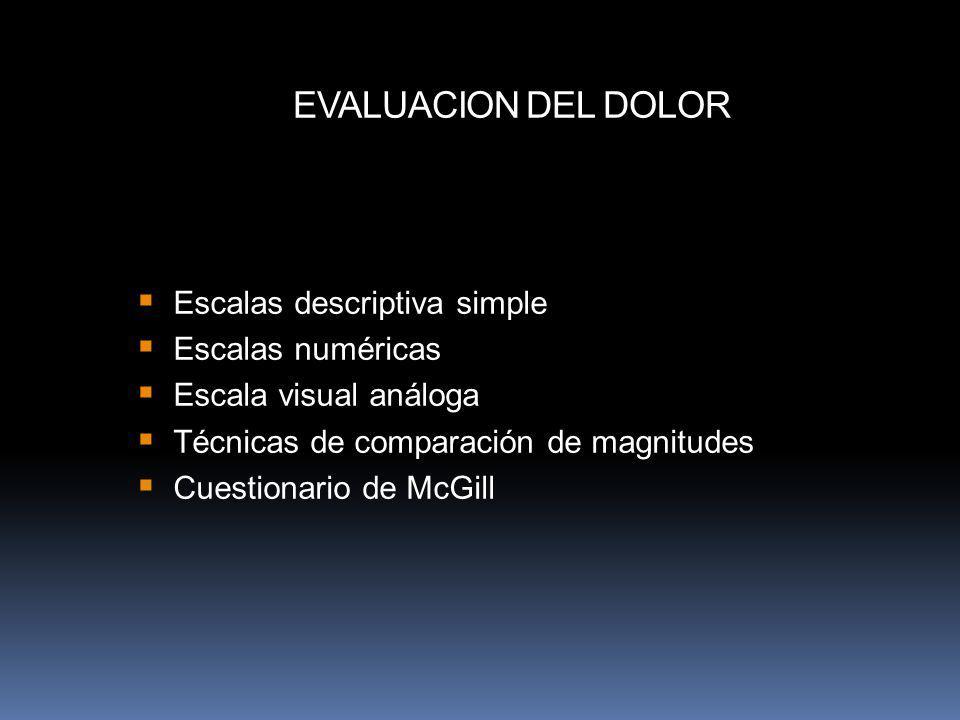 Escalas descriptiva simple Escalas numéricas Escala visual análoga Técnicas de comparación de magnitudes Cuestionario de McGill EVALUACION DEL DOLOR