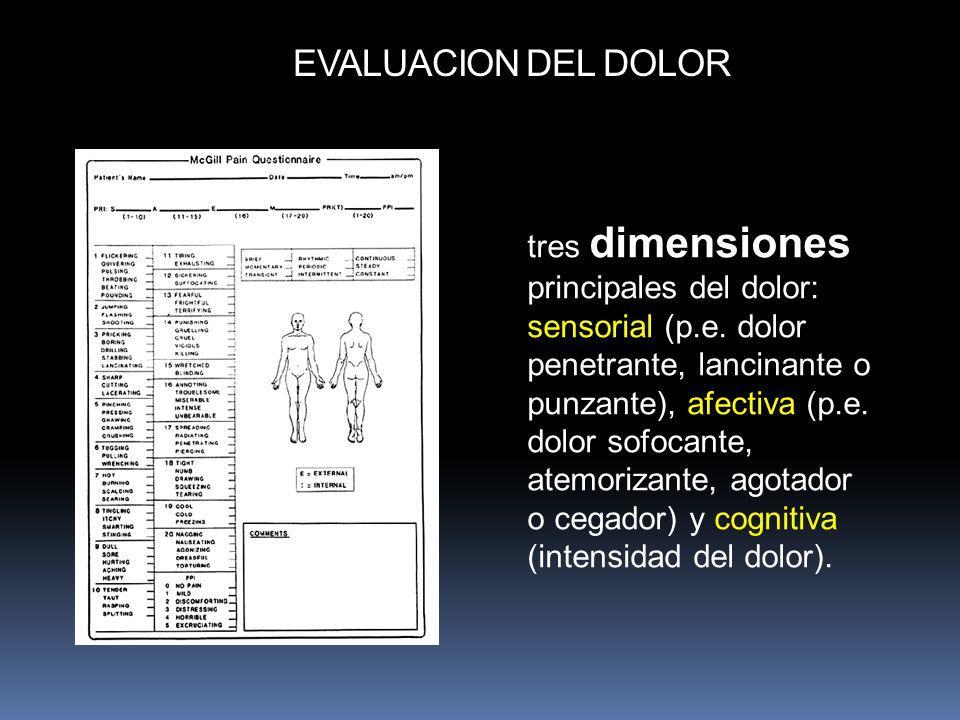 tres dimensiones principales del dolor: sensorial (p.e. dolor penetrante, lancinante o punzante), afectiva (p.e. dolor sofocante, atemorizante, agotad