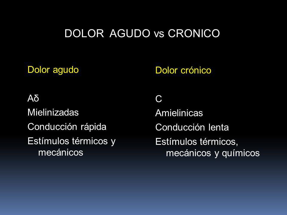 DOLOR AGUDO vs CRONICO Dolor agudo Aδ Mielinizadas Conducción rápida Estímulos térmicos y mecánicos Dolor crónico C Amielinicas Conducción lenta Estím